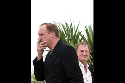 """(L-R) Actor Burghart Klaussner and actor Ulrich Tukur at the photo call of """"The White Band"""" at the 62nd Cannes Film Festival in Cannes"""